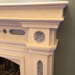 Staack Moore Woodworking limestone fireplace