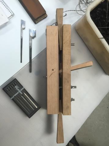 Custom built plane & tools, 17C Dutch ebony frame